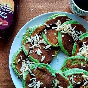 Hvedegræs pandekager med Spinat