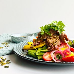 Thaibeefsalat med soyadressing og ristede græskarkerner